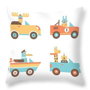 Animal Cars Throw Pillow