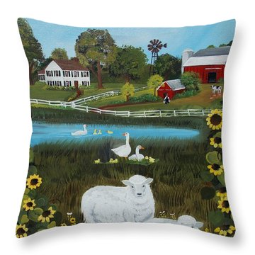 Throw Pillow featuring the painting Animal Farm by Virginia Coyle