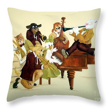 Animal Jazz Band Throw Pillow