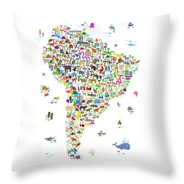 Animal Map Of South America For Children And Kids Throw Pillow
