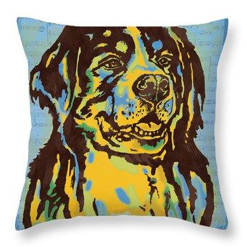 Animal Pop Art Etching Poster - Dog  15 Throw Pillow