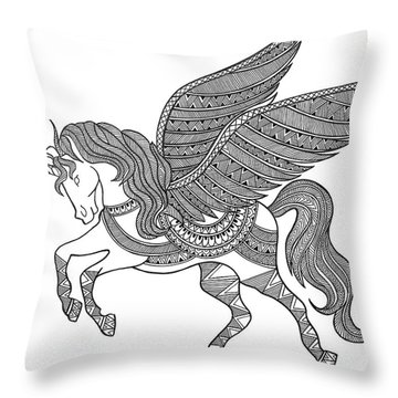 Animal Unicorn Throw Pillow by Neeti Goswami