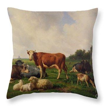 Animals Grazing In A Meadow  Throw Pillow by Hendrikus van de Sende Baachyssun