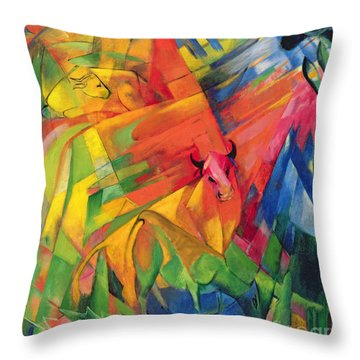 Animals In A Landscape Throw Pillow by Franz Marc