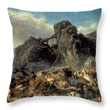 Animals Leaving The Ark, Mount Ararat  Throw Pillow by Filippo Palizzi