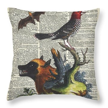 Animals Zoology Old Illustration Over A Old Dictionary Page Throw Pillow