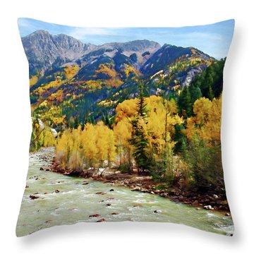 Throw Pillow featuring the photograph Animas River San Juan Mtns, Co, Panorama by Kurt Van Wagner