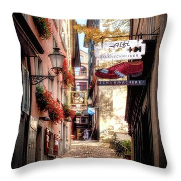 Ankengasse Street Zurich Throw Pillow by Jim Hill
