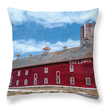 Throw Pillow featuring the painting Anken's Barn by Lynne Reichhart
