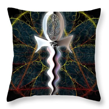 Throw Pillow featuring the digital art Ankh Dagger - Life And Death by Iowan Stone-Flowers
