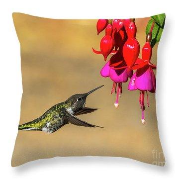 Anna And Hardy Fuchsia Flower Throw Pillow