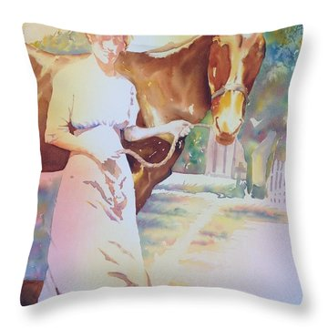 Anna Violet Stubblefield And Lightning Circa1913 Throw Pillow by Tara Moorman