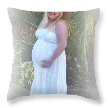 Annah In White Dress And Hat Throw Pillow