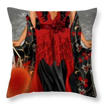 Throw Pillow featuring the digital art Annamia by Digital Art Cafe