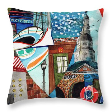 Annapolis Dock Dine Assemble Throw Pillow