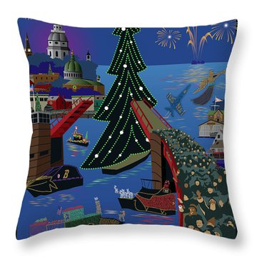 Annapolis Holiday Lights Parade Throw Pillow