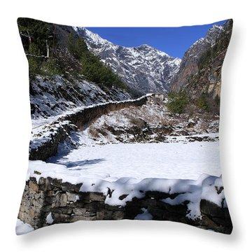 Throw Pillow featuring the photograph Annapurna Circuit Trail by Aidan Moran