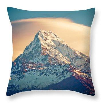 Annapurna Sunrise Himalayas Mountains Throw Pillow