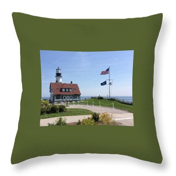 Portland Lighthouse ----- Edit Throw Pillow