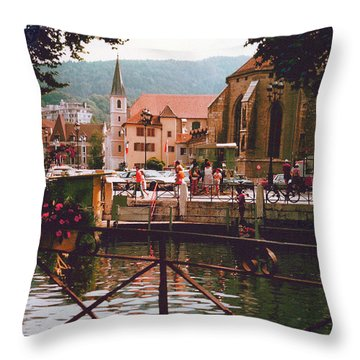 Annecy France Village Scene Throw Pillow by Fred Jinkins