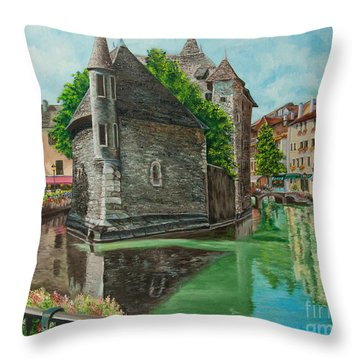 Annecy-the Venice Of France Throw Pillow by Charlotte Blanchard