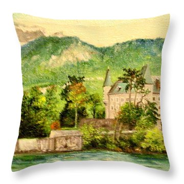 Throw Pillow featuring the painting Annency by Sorin Apostolescu