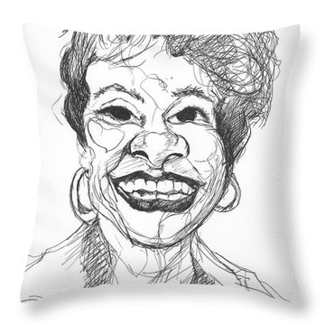 Annette Caricature Throw Pillow