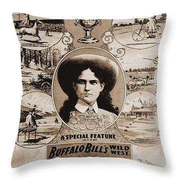 Annie Oakley In Buffalo Bill's Wild West Show Throw Pillow
