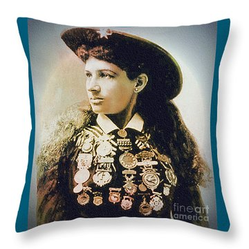 Annie Oakley - Shooting Legend Throw Pillow