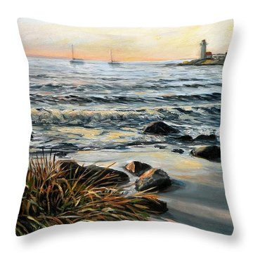 Annisquam Beach And Lighthouse Throw Pillow