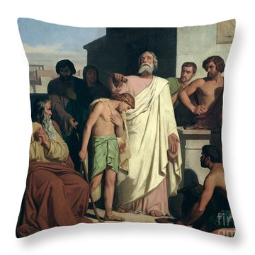 Annointing Of David By Saul Throw Pillow by Felix-Joseph Barrias