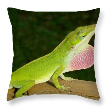Anole Displaying 2 Throw Pillow