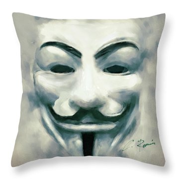 Throw Pillow featuring the digital art Anonymous by Charlie Roman