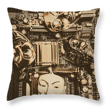 Anonymous Cyber Masks Throw Pillow
