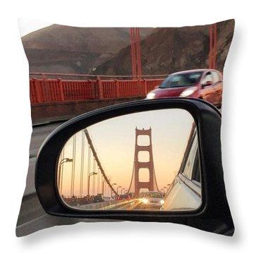 Side Mirror Golden Gate Bridge Throw Pillow by Eugene Evon
