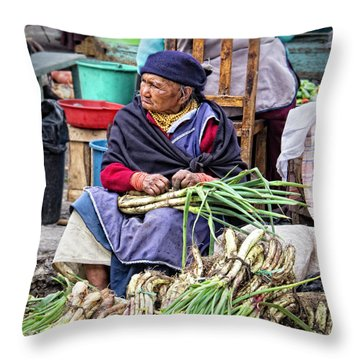 Another Day At The Market Throw Pillow