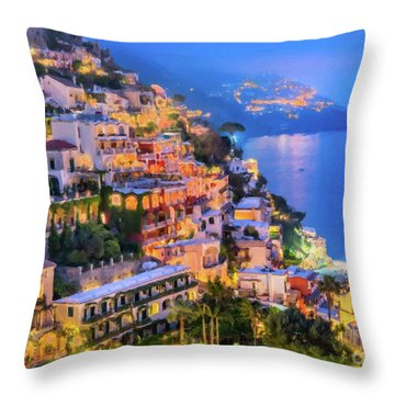 Another Glowing Evening In Positano Throw Pillow