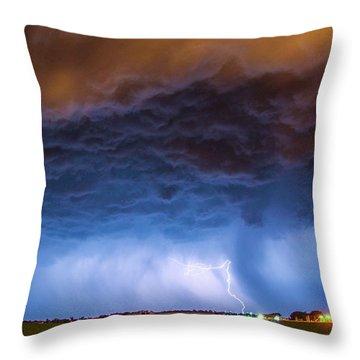 Another Impressive Nebraska Night Thunderstorm 008/ Throw Pillow