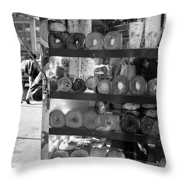 Throw Pillow featuring the photograph Another  Nyc  Breakfast by Dave Beckerman