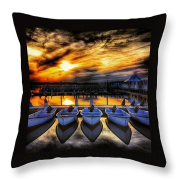 Sunset Over The Marina Throw Pillow by Lauren Fitzpatrick