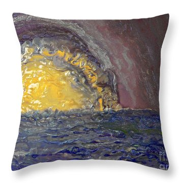 Throw Pillow featuring the painting Another Purple Sunset by AmaS Art