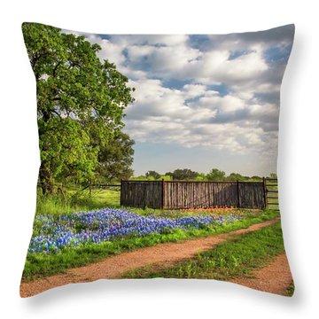 Bluebonnet Ranch Road Throw Pillow