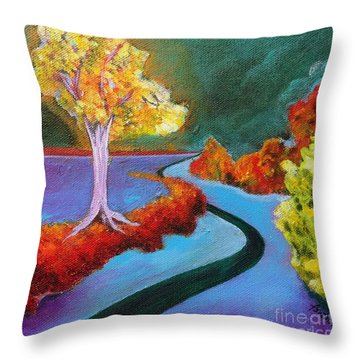 Throw Pillow featuring the painting Golden Aura by Elizabeth Fontaine-Barr