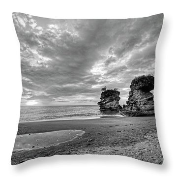 Anse Mamin Rock Formation At Sunset Saint Lucia Caribbean Black And White Throw Pillow