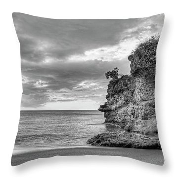 Anse Mamin Rock Formation At Sunset Saint Lucia Caribbean Sunset Black And White Throw Pillow