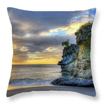 Anse Mamin Rock Formation At Sunset Saint Lucia Caribbean Sunset Throw Pillow
