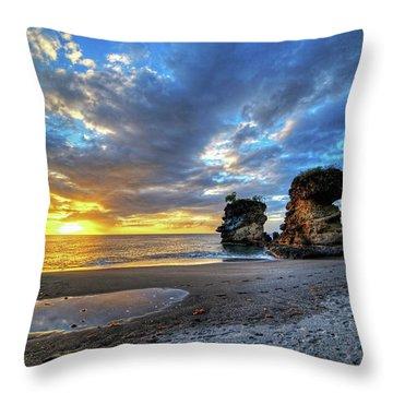 Anse Mamin Rock Formation At Sunset Saint Lucia Caribbean Throw Pillow
