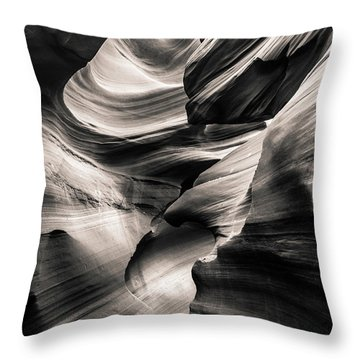 Antelope Canyon Bw Throw Pillow