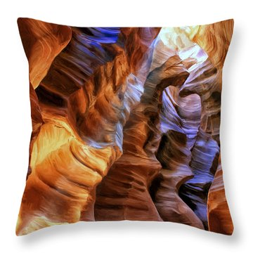 Antelope Canyon Throw Pillow by Dominic Piperata