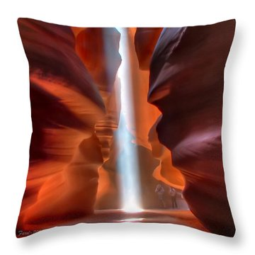 Antelope Canyon Light Throw Pillow by Farol Tomson